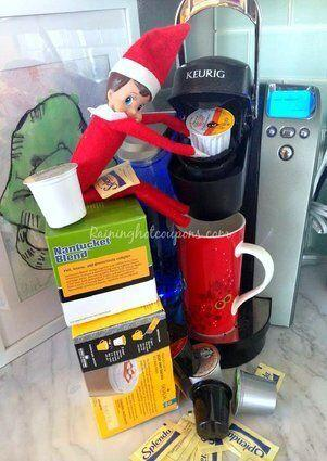 "<p>Put your elf to work by getting her to have your coffee pod ready and waiting in the morning.</p> <p>Source: <a href=""http://www.raininghotcoupons.com/wp-content/uploads/2013/12/elf-on-the-shelf-ideas3.png"" target=""_blank"">Raining Hot Coupons</a></p>"
