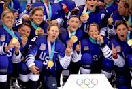 <p>Gold medal winners the United States celebrate after defeating Canada in a shootout in the Women's Gold Medal Game at the PyeongChang 2018 Winter Olympic Games on February 22, 2018.<br> (Photo by Bruce Bennett/Getty Images) </p>