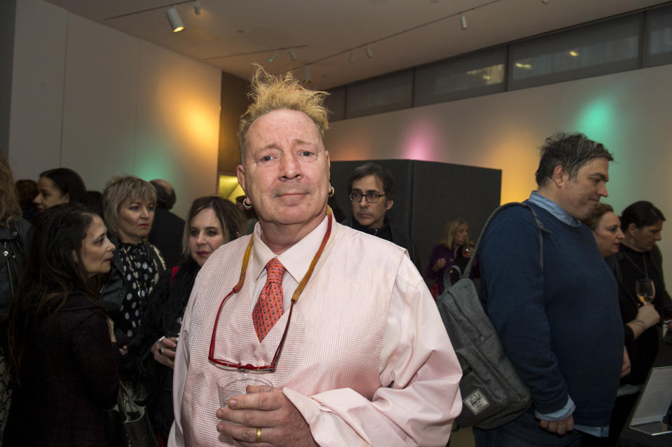 (MANDATORY CREDIT Ebet Roberts/Redferns) John Lydon attends the opening of an exhibit called 'Too Fast to Live, Too Young to Die: Punk Graphics, 1976-1986' at the Museum of Arts and Design in New York City on April 15, 2019.  (Photo by Ebet Roberts/Redferns)