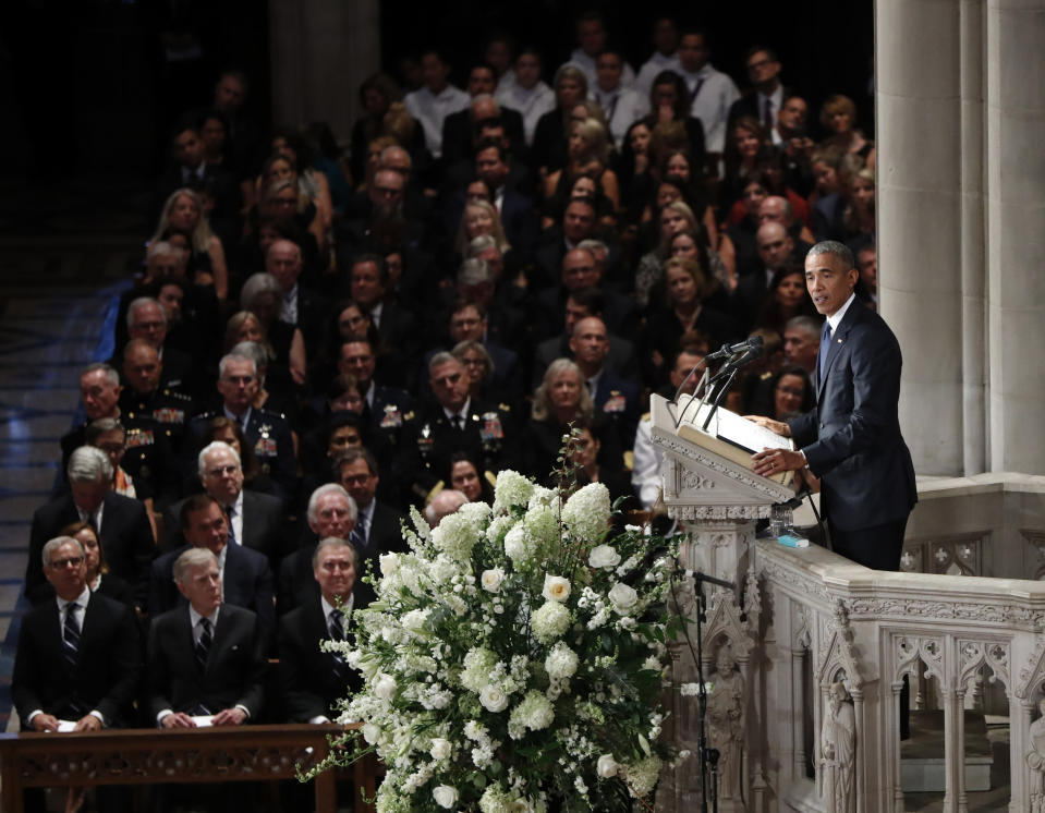 Former President Barack Obama speaks at a memorial service for Sen. John McCain, R-Ariz., at Washington National Cathedral in Washington, Saturday, Sept. 1, 2018. McCain died Aug. 25, from brain cancer at age 81. (AP Photo/Pablo Martinez Monsivais)