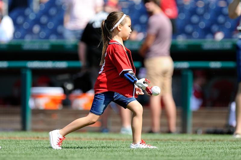 Hailey throwing the first pitch back in June, when the Washington Nationals took on the Texas Rangers at Nationals Park (Photo by Greg Fiume/Getty)