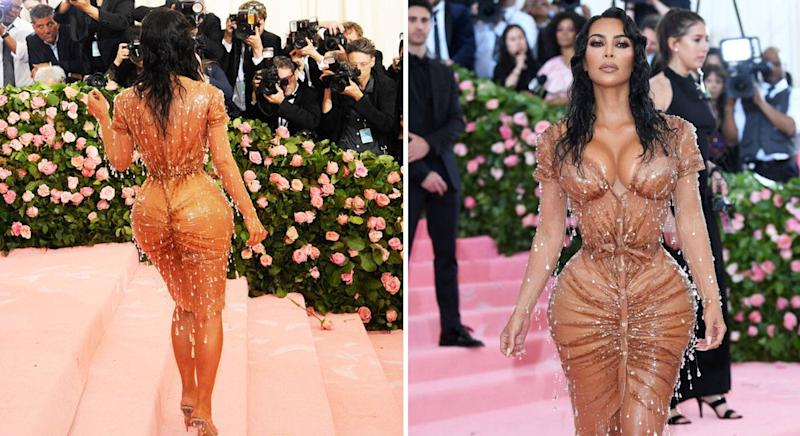 "Kim Kardashian wore a skintight Thierry Mugler dress designed to look like it was ""dripping"". [Photo: Getty]"