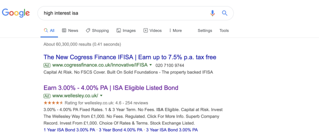 Adverts for a bond alongside search results for high interest ISAs. Photo: Screenshot/Yahoo Finance UK