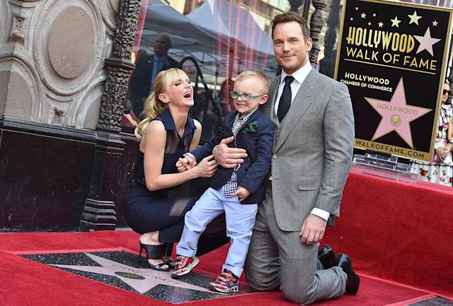 Anna Faris, Jack Pratt, and Chris Pratt at Chris's Hollywood Walk of Fame ceremony, April 21, 2017. (Photo: Getty Images)