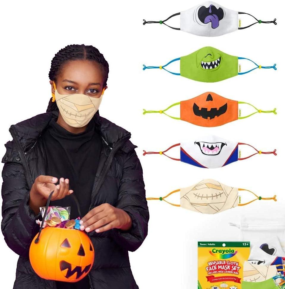 <p>Why yes, the <span>Crayola Halloween Reusable Cloth Teen Face Mask Set</span> ($32, originally $40) fits adults, too!</p>