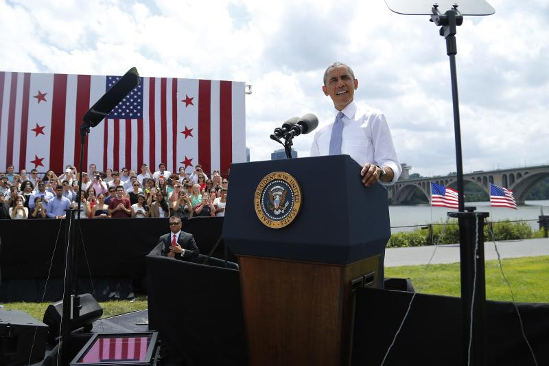 U.S. President Barack Obama makes remarks on the economy at the Georgetown Waterfront Park in Washington