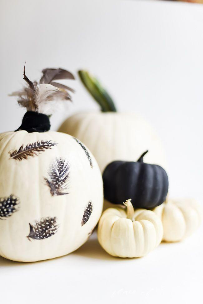 """<p>Calling all crafters: If you're up for it, découpaging your pumpkins is an excellent way to amp up the seasonal fun. Just a small amount of Mod Podge is all you'll need to affix each feather—and you can throw a few extra on top for added flair.</p><p><strong>Get the tutorial at <a href=""""https://placeofmytaste.com/feathers-decoupage-pumpkin/"""" rel=""""nofollow noopener"""" target=""""_blank"""" data-ylk=""""slk:Place of My Taste"""" class=""""link rapid-noclick-resp"""">Place of My Taste</a>.</strong></p><p><strong><strong><a class=""""link rapid-noclick-resp"""" href=""""https://go.redirectingat.com?id=74968X1596630&url=https%3A%2F%2Fwww.walmart.com%2Fsearch%2F%3Fquery%3Dcraft%2Bfeathers&sref=https%3A%2F%2Fwww.thepioneerwoman.com%2Fhome-lifestyle%2Fdecorating-ideas%2Fg36664123%2Fwhite-pumpkin-decor-ideas%2F"""" rel=""""nofollow noopener"""" target=""""_blank"""" data-ylk=""""slk:SHOP CRAFT FEATHERS"""">SHOP CRAFT FEATHERS</a></strong><br></strong></p>"""