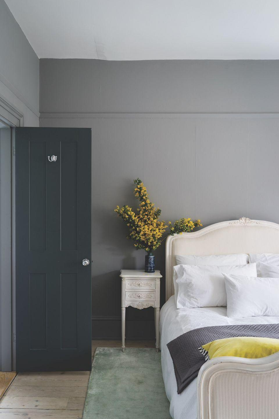 """<p>In a bedroom, go for a strong architectural grey, like Plummett, which offers an industrial, modern feel and intensifies in colour in smaller spaces. White bedding creates a crisp contrast, while yellow accents complements the grey perfectly.</p><p>Pictured: <a href=""""https://go.redirectingat.com?id=127X1599956&url=https%3A%2F%2Fwww.farrow-ball.com%2Fpaint-colours%2Fplummett&sref=https%3A%2F%2Fwww.housebeautiful.com%2Fuk%2Fdecorate%2Fbedroom%2Fg35432015%2Fgrey-bedroom-ideas%2F"""" rel=""""nofollow noopener"""" target=""""_blank"""" data-ylk=""""slk:Plummett No.272, Farrow & Ball"""" class=""""link rapid-noclick-resp"""">Plummett No.272, Farrow & Ball</a></p>"""