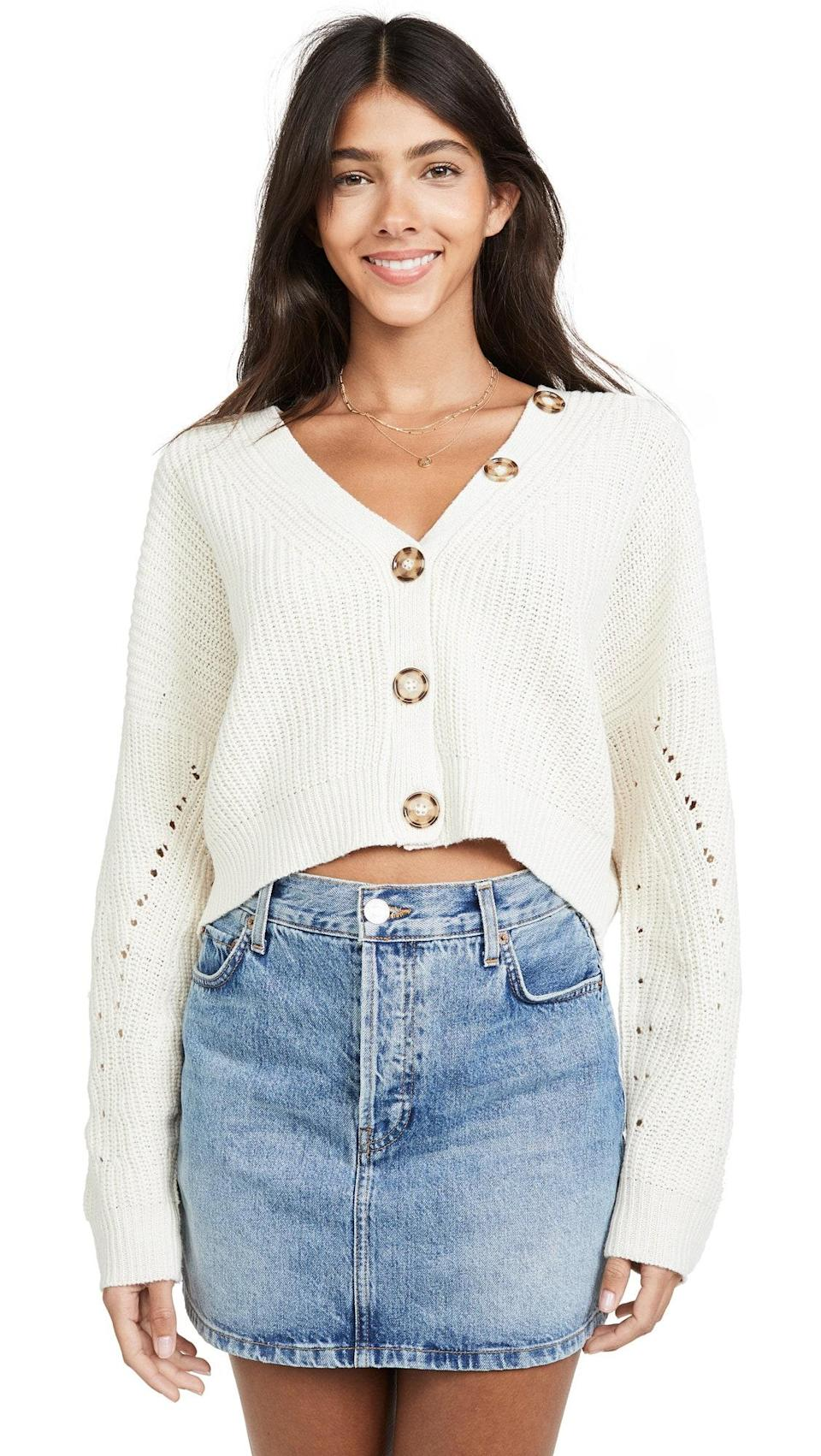 """Line & Dot has a ton of great fall sweaters, but this creamy number stands out. It's just slouchy enough to look cute without appearing sloppy (and the extra buttons on the collar are perfect in case you lose one of the middle ones). $69, Amazon. <a href=""""https://www.amazon.com/Line-Dot-Womens-Scarlett-Cardigan/dp/B07T753GG5?s=shopbop&ref_=sb_ts"""" rel=""""nofollow noopener"""" target=""""_blank"""" data-ylk=""""slk:Get it now!"""" class=""""link rapid-noclick-resp"""">Get it now!</a>"""