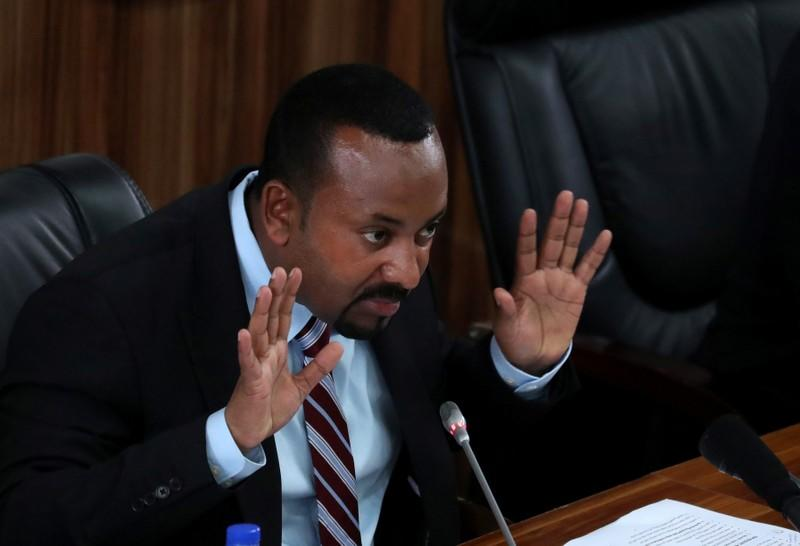 Ethiopia's Prime Minister Abiy Ahmed speaks during a session with the Members of the Parliament in Addis Ababa
