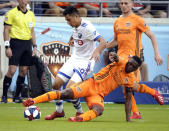 Houston Dynamo's Oscar Garcia, right, kicks the ball away from Montreal Impact's Mathieu Choiniere during the second half of an MLS soccer match Saturday, March 9, 2019, in Houston. (AP Photo/David J. Phillip)