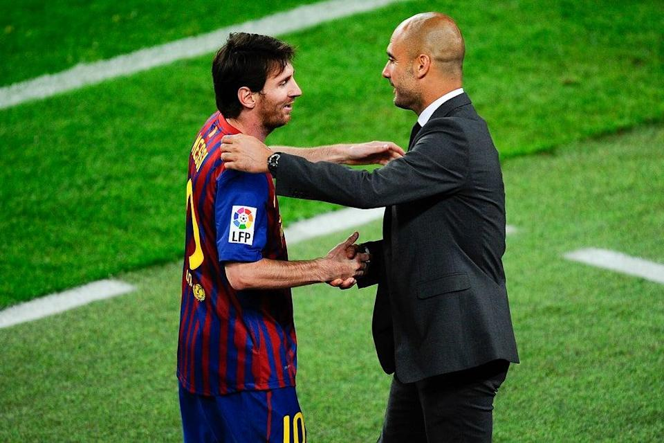 Lionel Messi with Pep Guardiola at Barcelona in 2012 (David Ramos/Getty Images)