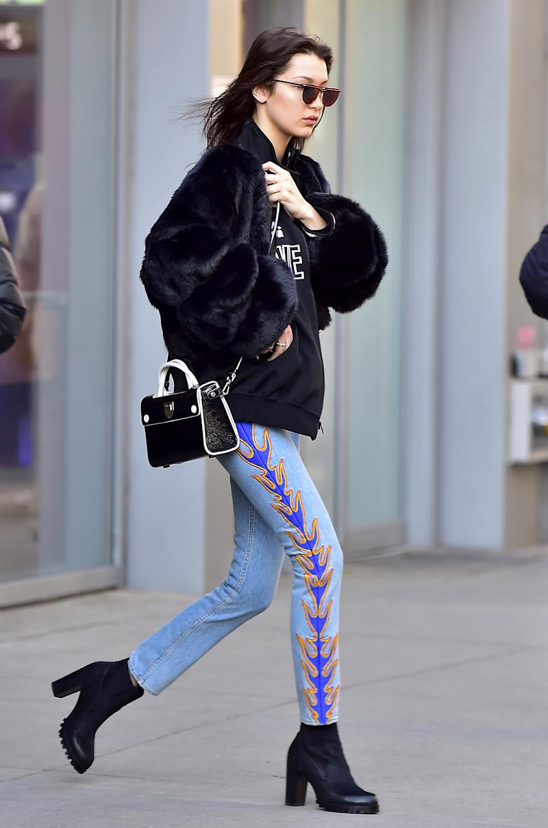 Bella Hadid is seen in Midtown on February 14, 2017 in New York City.