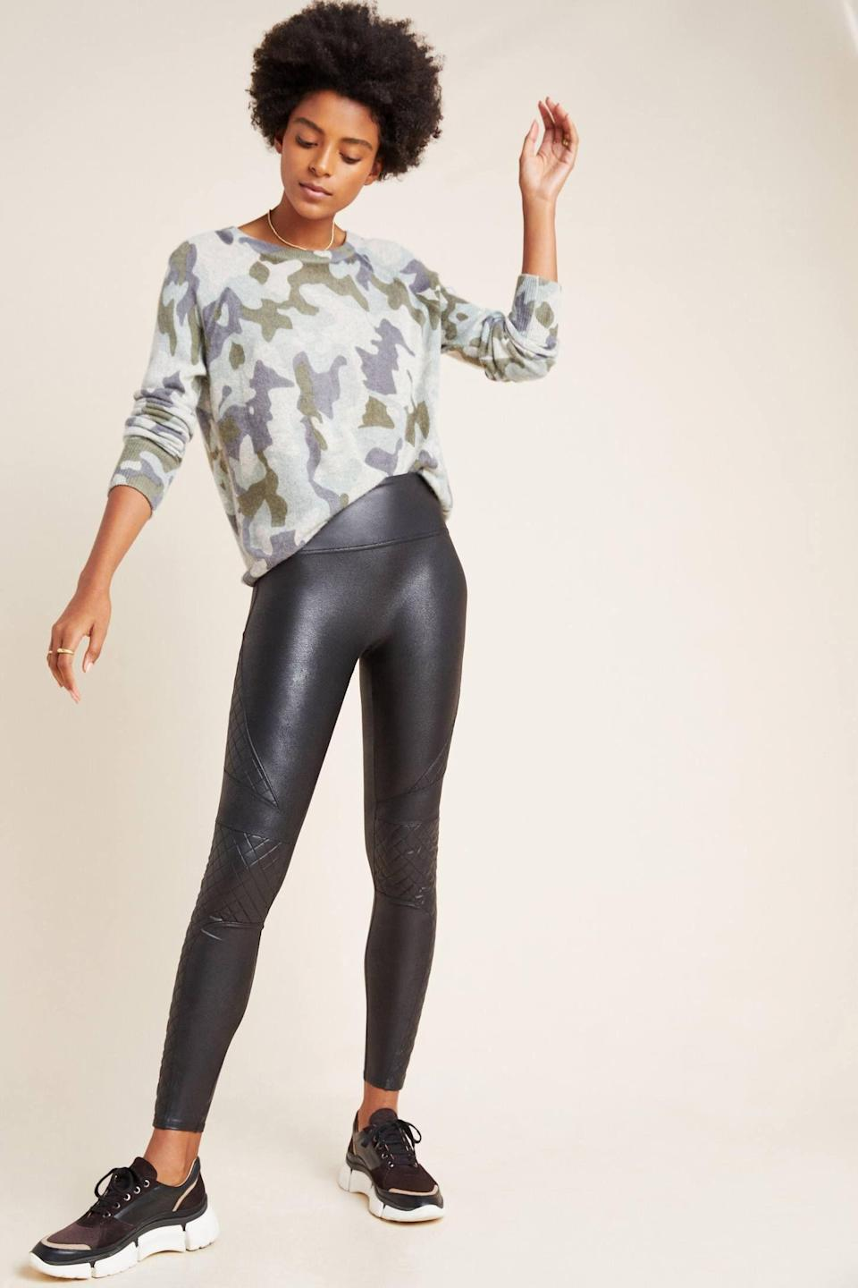 """<p><strong>Spanx</strong></p><p>anthropologie.com</p><p><strong>$110.00</strong></p><p><a href=""""https://go.redirectingat.com?id=74968X1596630&url=https%3A%2F%2Fwww.anthropologie.com%2Fshop%2Fspanx-quilted-faux-leather-leggings&sref=https%3A%2F%2Fwww.marieclaire.com%2Ffashion%2Fg34437532%2Fbest-leather-leggings%2F"""" rel=""""nofollow noopener"""" target=""""_blank"""" data-ylk=""""slk:SHOP IT"""" class=""""link rapid-noclick-resp"""">SHOP IT</a></p><p>A little design goes a long way when it comes to plain black leggings. Here, the quilted pattern around the knees makes the leggings a fit for both casual and slightly dressier looks when paired with a leather jacket, cute top, and heel boots.</p>"""