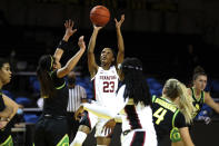 Stanford guard Kiana Williams shoots against Oregon during the first half of an NCAA college basketball game in Santa Cruz, Calif., Friday, Jan. 8, 2021. (AP Photo/Jed Jacobsohn)