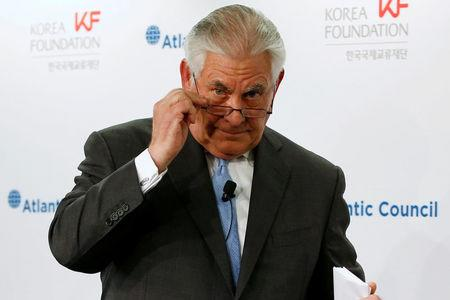 FILE PHOTO: U.S. Secretary of State Rex Tillerson concludes his remarks on the U.S.-Korea relationship during a forum at the Atlantic Council in Washington, DC, U.S. December 12, 2017.  REUTERS/Jonathan Ernst/File Photo