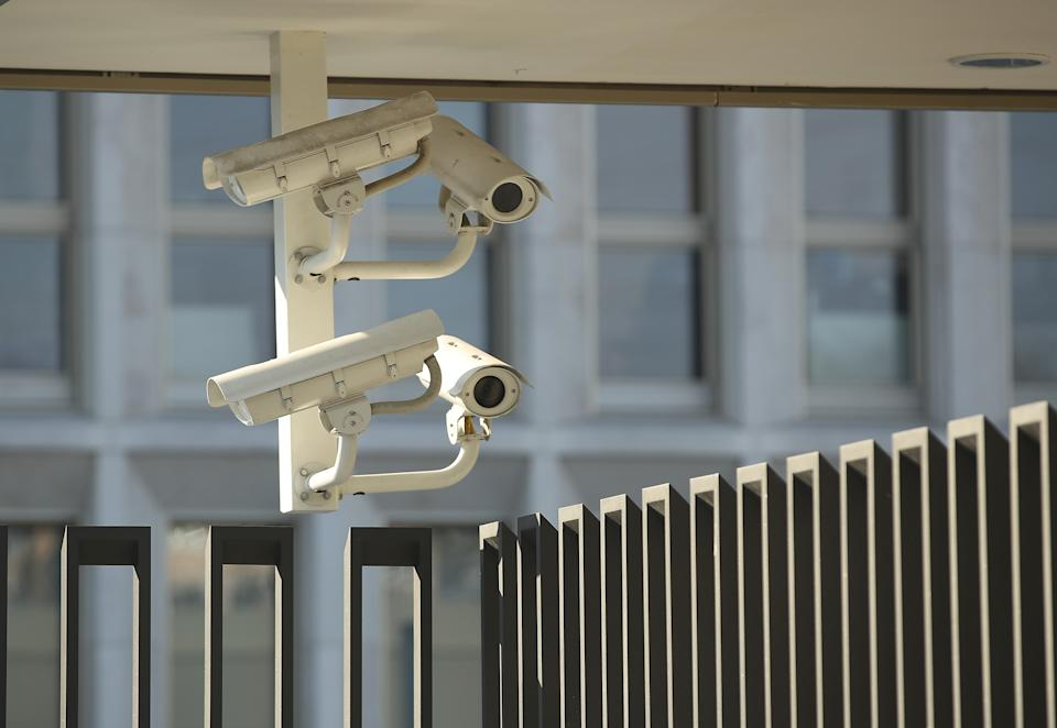 BERLIN, GERMANY - MARCH 02:  Security camera hang at the German Interior Ministry on March 2, 2018 in Berlin, Germany. German authorities are investigating hacker attacks on administrative computers of the German government, including those of government ministries and parliament. Authorities said they suspect a Russian hacker group.  (Photo by Sean Gallup/Getty Images)