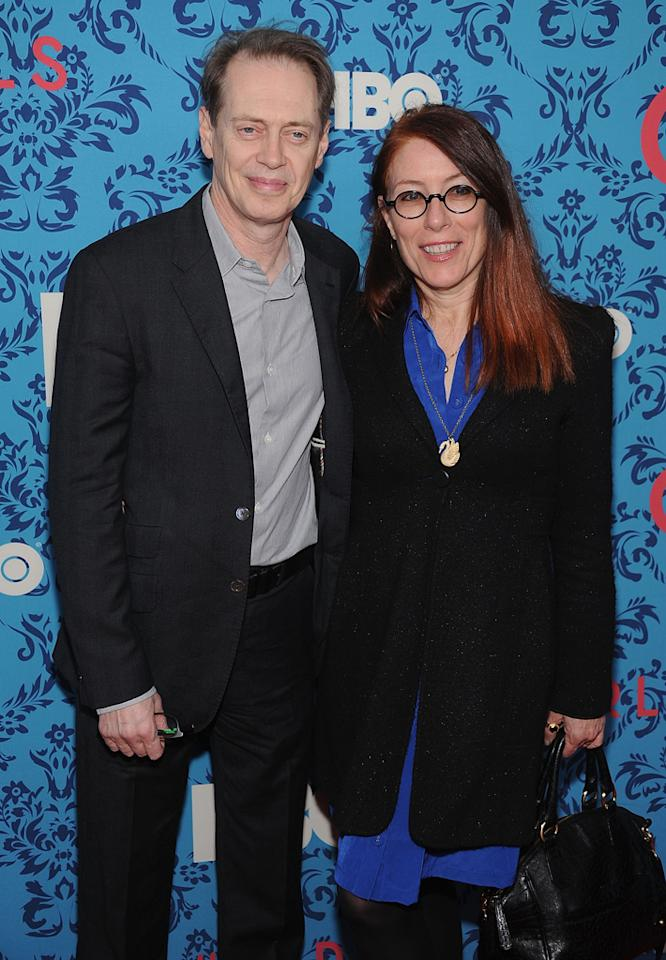 """Steve Buscemi and Jo Anders attend the premiere of HBO's """"<a target=""""_blank"""" href=""""http://tv.yahoo.com/girls/show/47563"""">Girls</a>"""" at the School of Visual Arts Theater on April 4, 2012 in New York City."""