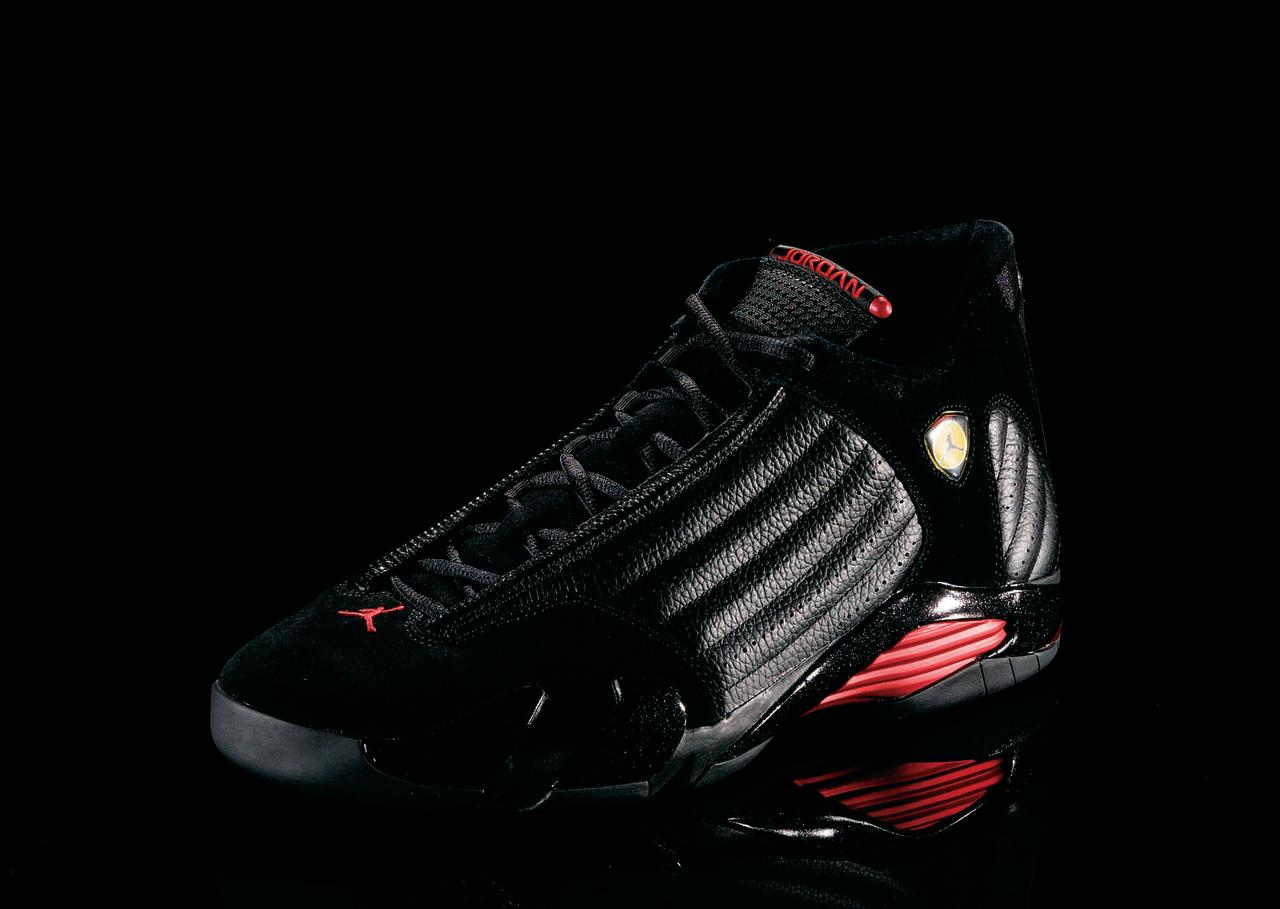 "<p>Air Jordan XIV - ""Race Ready"" (1999): Inspired by MJ's Ferrari, this was the shoe he wore when he hit ""The Shot II"" against the Utah Jazz. (Photo Courtesy of Nike)</p>"