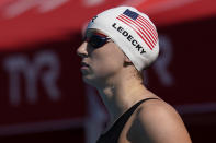 Katie Ledecky prepares to compete in the women's 200-meter final at the TYR Pro Swim Series swim meet Friday, April 9, 2021, in Mission Viejo, Calif. Ledecky won the final. (AP Photo/Ashley Landis)