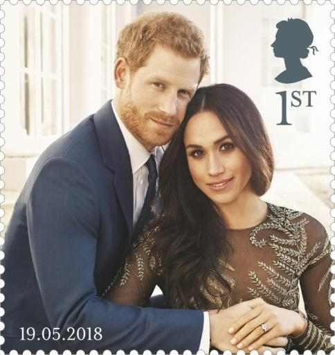 A stamp depicting an official engagement photograph of Britain's Prince Harry and his fiancee Meghan Markle