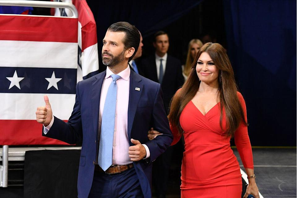 """<p>After accompanying her boyfriend Don Jr. to myriad fundraisers, rallies, and the like for months, Guilfoyle was named a senior adviser on Trump's 2020 campaign. """"I am absolutely THRILLED to announce that I'll be joining the Trump campaign as a Senior Adviser!"""" she <a href=""""https://twitter.com/kimguilfoyle/status/1123065567412310017?s=20"""" rel=""""nofollow noopener"""" target=""""_blank"""" data-ylk=""""slk:tweeted"""" class=""""link rapid-noclick-resp"""">tweeted</a>. """"It's time to get to work and WIN for America in 2020.""""</p>"""