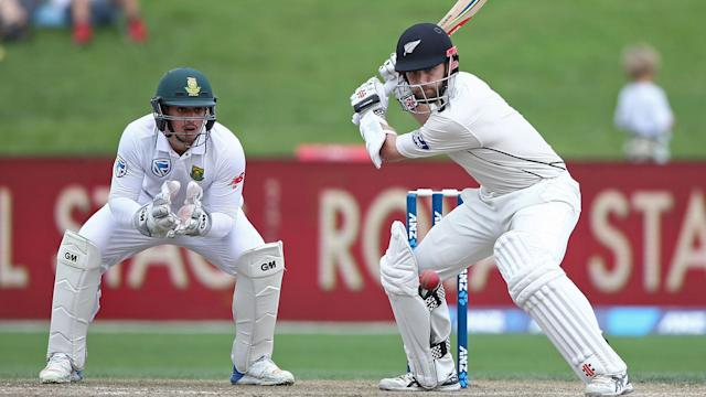New Zealand dominated day three of the third Test against South Africa as Kane Williamson made a record-equalling century.
