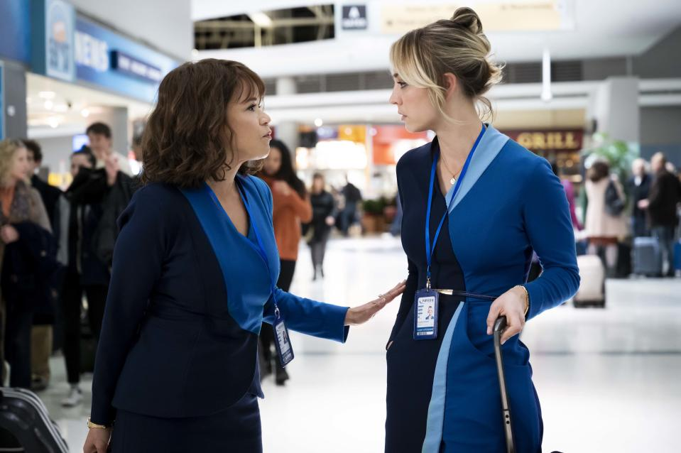 Rosie Perez and Kaley Cuoco play Megan and Cassie on the The Attendant