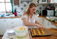 Eszter Harmath prepares pastries at her home during COVID-19 pandemic, in Szentendre