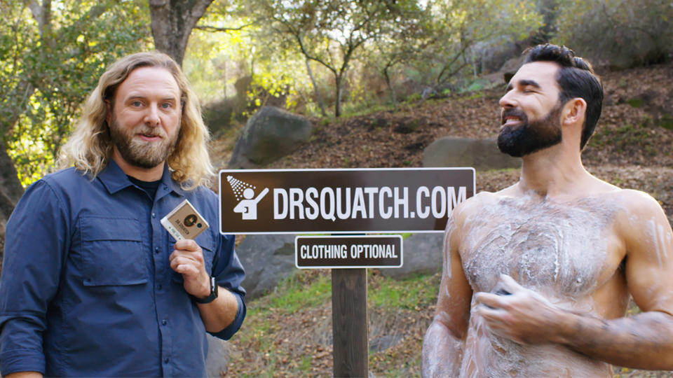 This photo provided by Dr. Squatch Inc. shows an image from the company's Super Bowl NFL football spot. (Dr. Squatch Inc. via AP)