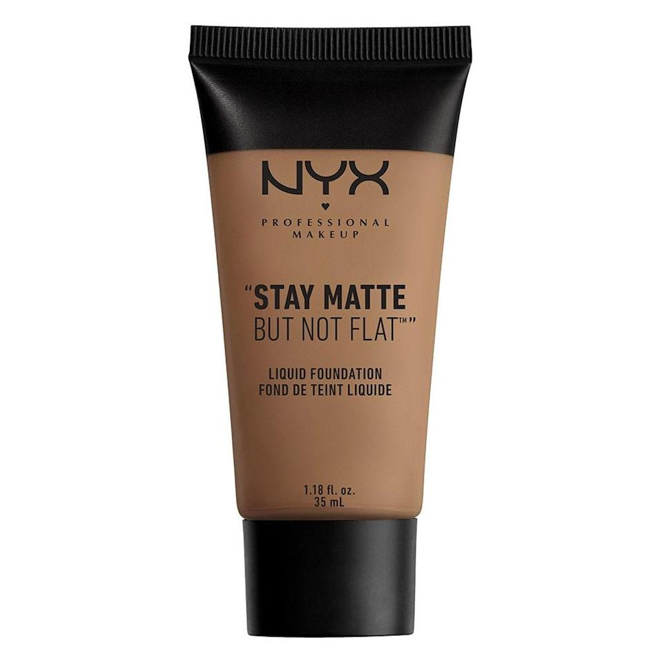 "<p>The Nyx Stay Matte But Not Flat Liquid Foundation is oil-free, so have no fear of it clogging your pores. Its hydrating, water-based formula is packed inside a squeezy tube, making it a mess-free dream and allowing you to get every last drop of it. </p> <p><strong>$8</strong> (<a href=""https://shop-links.co/1726006787962141319"" rel=""nofollow noopener"" target=""_blank"" data-ylk=""slk:Shop Now"" class=""link rapid-noclick-resp"">Shop Now</a>)</p>"