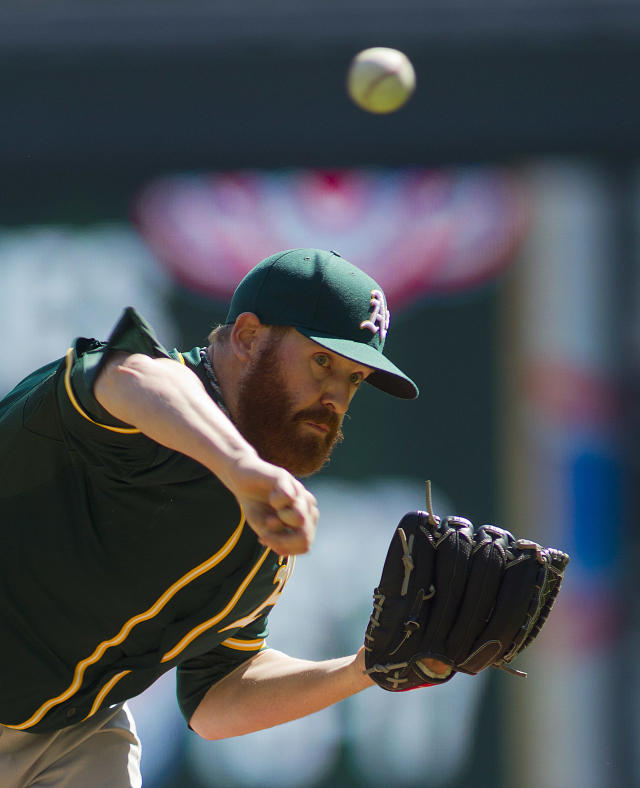 Oakland Athletics starting pitcher Dan Straily (67) throws against the Minnesota Twins in the first inning of a baseball game on Thursday, April 10, 2014 in Minneapolis.(AP Photo/Andy Clayton-King)