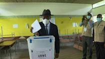 Ivory Coast President Alassane Ouattara votes in parliamentary election