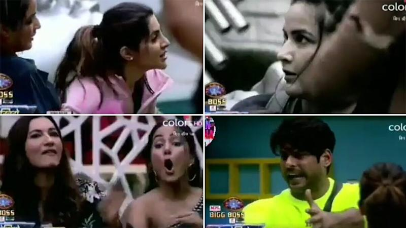 Bigg Boss 14 Preview: Nikki Tamboli and Jasmin Bhasin Engage in Kushti, Hina Khan and Sidharth Shukla Get Into A Fight (Watch Video)