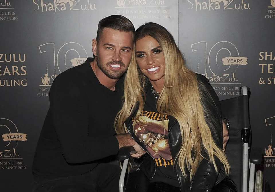 Katie Price's fiance Carl Woods has pledged his support. (Getty Images)