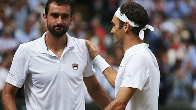 Cilic and Federer. Image: Getty