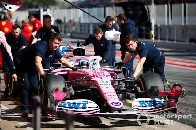 "Lance Stroll, Racing Point RP20, makes a pit stop <span class=""copyright"">Andrew Hone / Motorsport Images</span>"