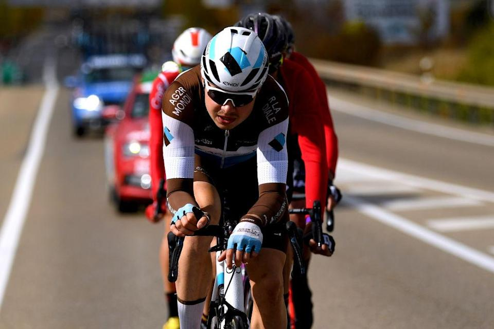 EJEADELOSCABALLEROS SPAIN  OCTOBER 23 Harry Tanfield of The United Kingdom and Team AG2R La Mondiale  Breakaway  during the 75th Tour of Spain 2020 Stage 4 a 1917km stage from Garray  Numancia to Ejea de los Caballeros  lavuelta  LaVuelta20  La Vuelta  on October 23 2020 in Ejea de los Caballeros Spain Photo by David RamosGetty Images