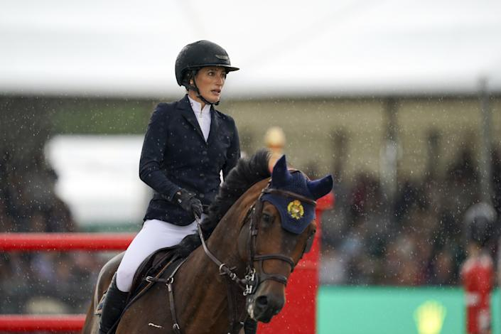 Jessica Springsteen riding Don Juan van de Donkhoeve competes in the Rolex Grand Prix at the Royal Windsor Horse Show, Windsor. Picture date: Sunday July 4, 2021. (Photo by Steve Parsons/PA Images via Getty Images)