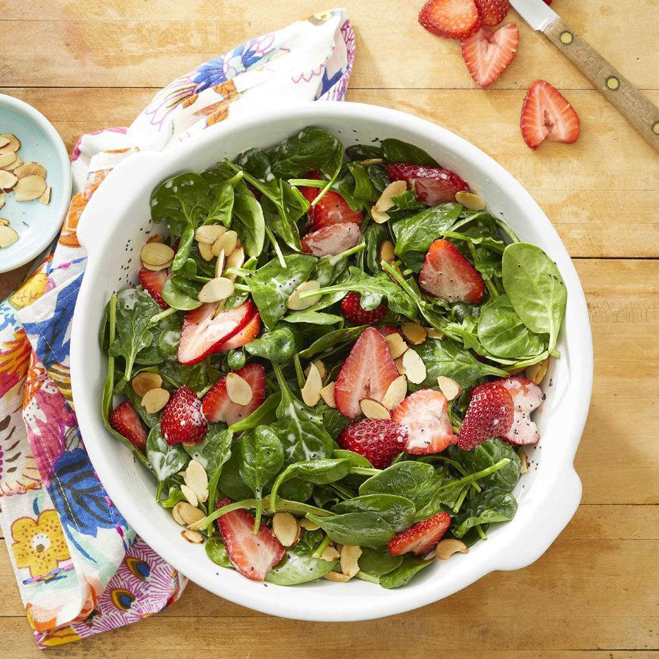 """<p>Homemade poppy seed dressing pairs beautifully with tender spinach, crunchy almonds and juicy berries for a fantastically refreshing and easy spring salad. To make ahead, whisk dressing, combine salad ingredients and store separately. Toss the salad with the dressing just before serving. To make it a complete meal, top with grilled chicken or shrimp. <a href=""""https://www.eatingwell.com/recipe/270877/spinach-strawberry-salad-with-poppy-seed-dressing/"""" rel=""""nofollow noopener"""" target=""""_blank"""" data-ylk=""""slk:View recipe"""" class=""""link rapid-noclick-resp""""> View recipe </a></p>"""