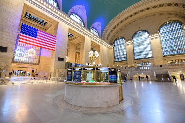 A view inside Grand Central Terminal during the coronavirus pandemic on April 19, 2020 in New York City.