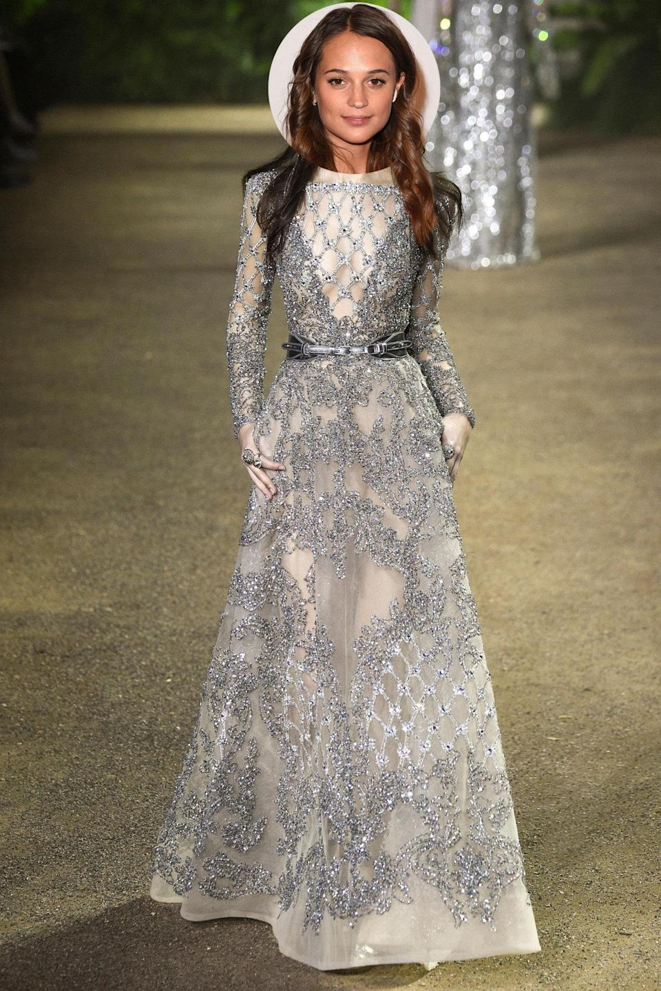 <p>Chances are that the Swedish actress will hit the red carpet in Louis Vuitton — but if it were up to us, she'd wear this glittery gown by Elie Saab Couture.</p>