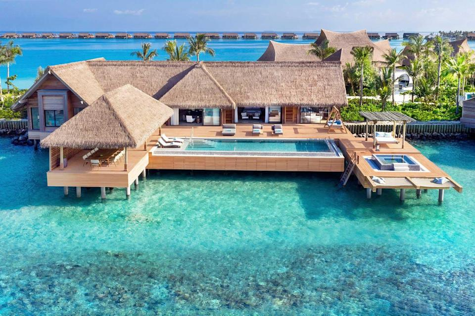An overwater villa at the Waldorf Astoria Maldives Ithaafushi resort, voted one of the best hotels in the world