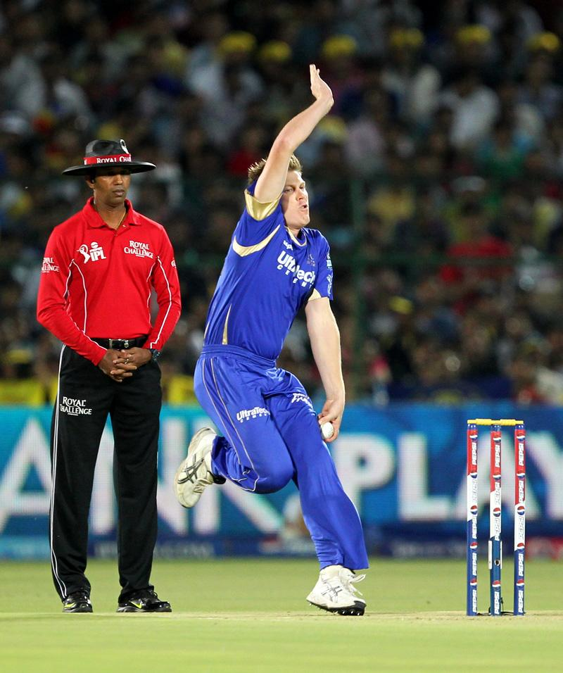 James Faulkner during match 61 of the Pepsi Indian Premier League ( IPL) 2013  between The Rajasthan Royals and the Chennai Super Kings held at the Sawai Mansingh Stadium in Jaipur on the 12th May 2013. (BCCI)