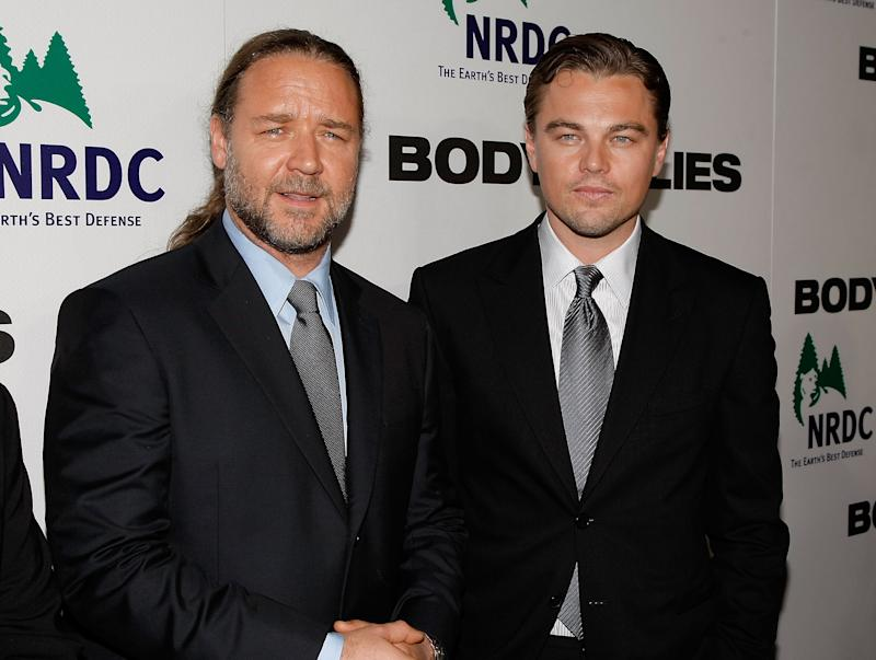 "NEW YORK - OCTOBER 05: Actors Russell Crowe and Leonardo DiCaprio attend the premiere of ""Body of Lies"" at the Frederick P. Rose Theater on October 5, 2008 in New York City. (Photo by Jemal Countess/WireImage)"