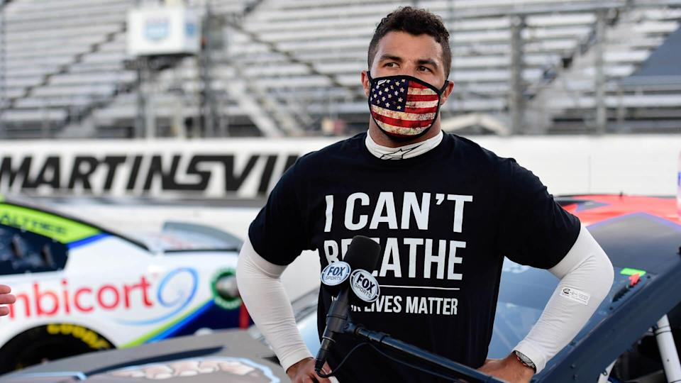 MARTINSVILLE, VIRGINIA - JUNE 10: Bubba Wallace, driver of the #43 Richard Petty Motorsports Chevrolet, wears a