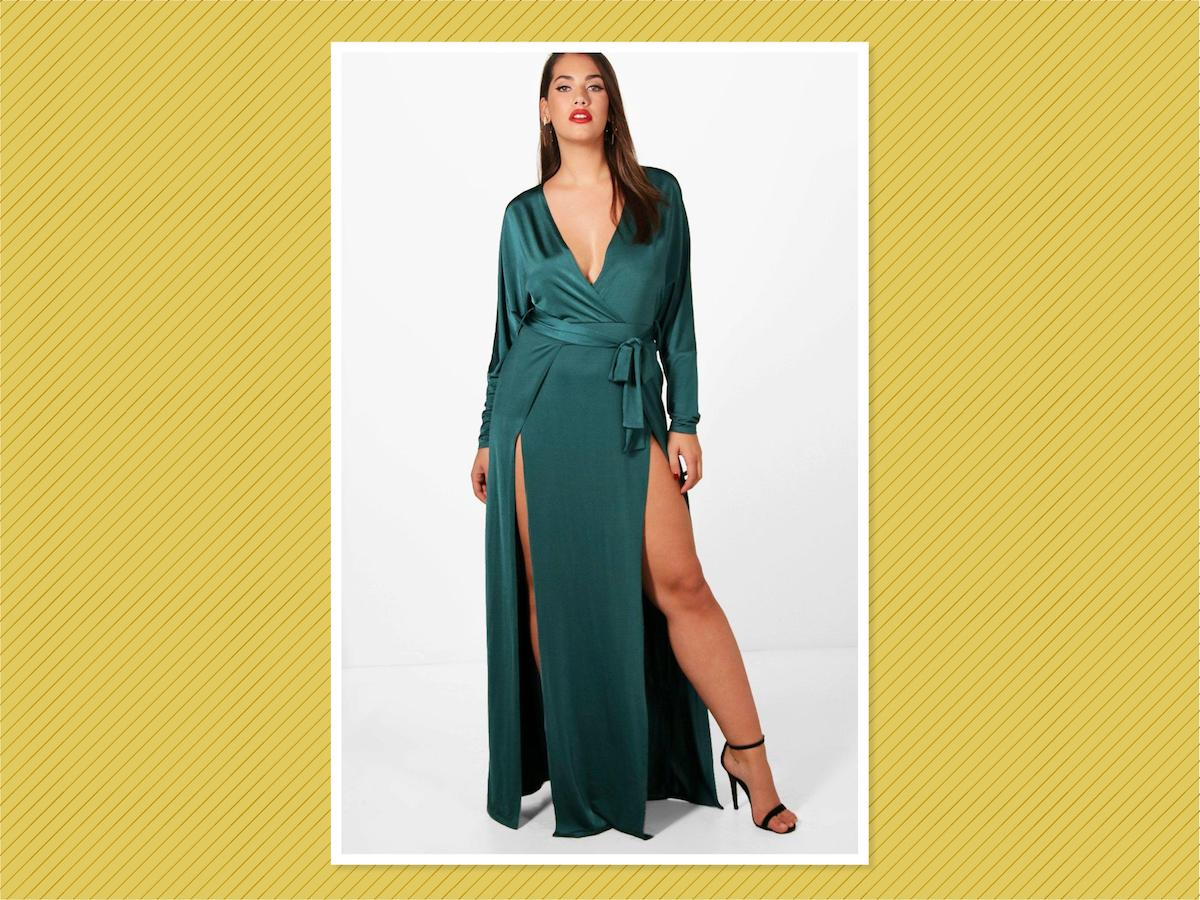 "<p>Plus Verity Slinky Plunge Split Maxi Dress, $23, <a rel=""nofollow"" href=""http://us.boohoo.com/plus-verity-slinky-plunge-split-maxi-dress/PZZ90067.html"">Boohoo</a> (Photo: Boohoo) </p>"