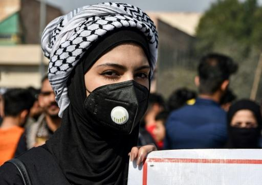 A student protester during an anti-government demonstration in Iraq's southern city of Nasiriyah in early March
