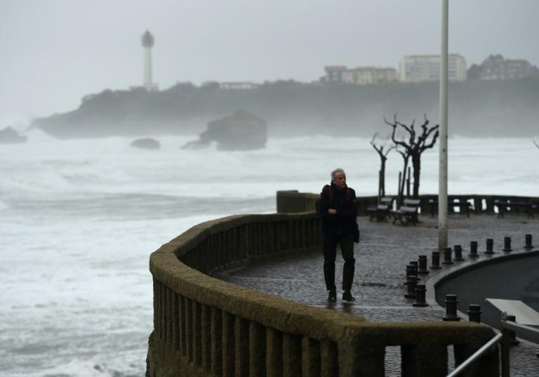 Stormy weather near the Grande Plage in Biarritz, southwestern France on Friday