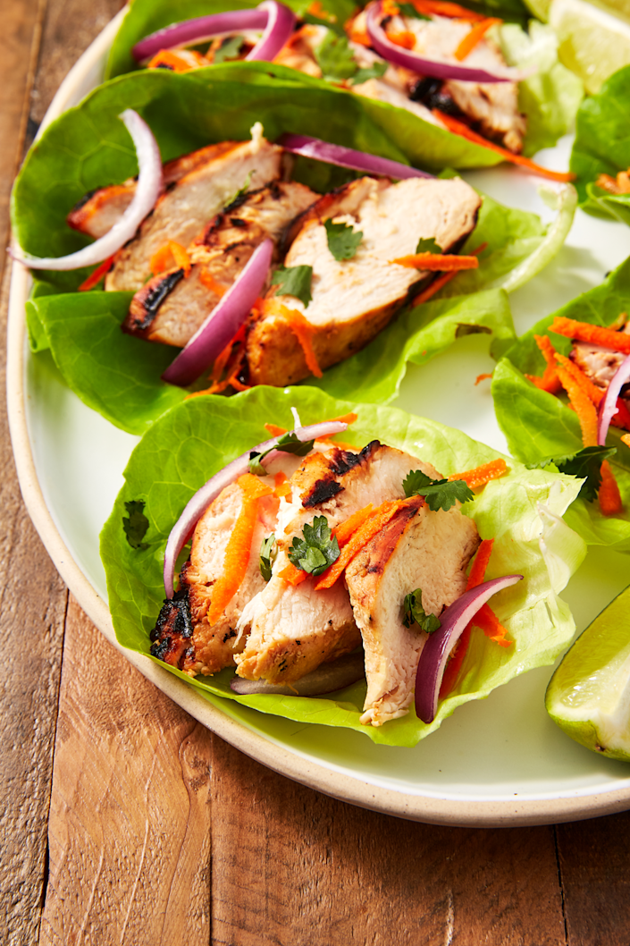"""<p>Eating healthy isn't so bad!</p><p>Get the recipe from <a href=""""https://www.delish.com/cooking/recipe-ideas/recipes/a57645/thai-chicken-lettuce-cups-recipe/"""" rel=""""nofollow noopener"""" target=""""_blank"""" data-ylk=""""slk:Delish"""" class=""""link rapid-noclick-resp"""">Delish</a>. </p>"""